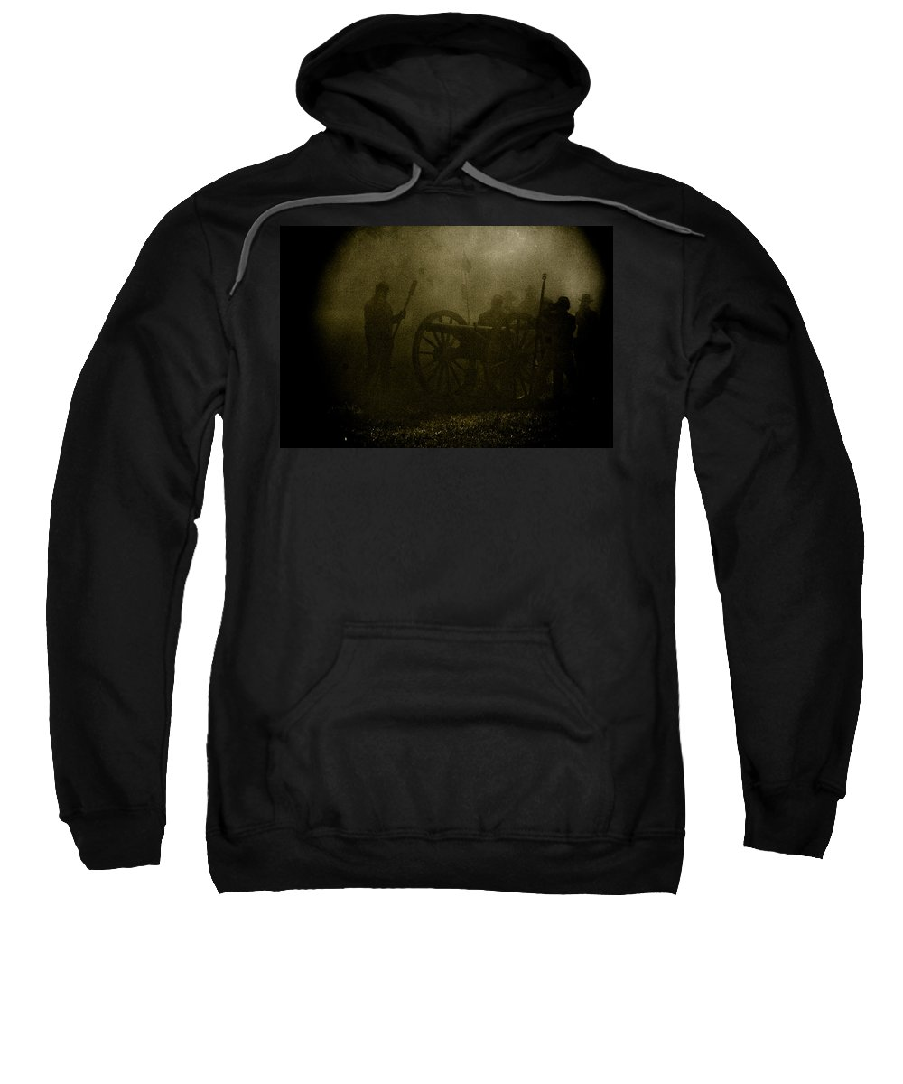 Civil War Re-enactment Sweatshirt featuring the photograph Behind The Smoke by Kim Henderson