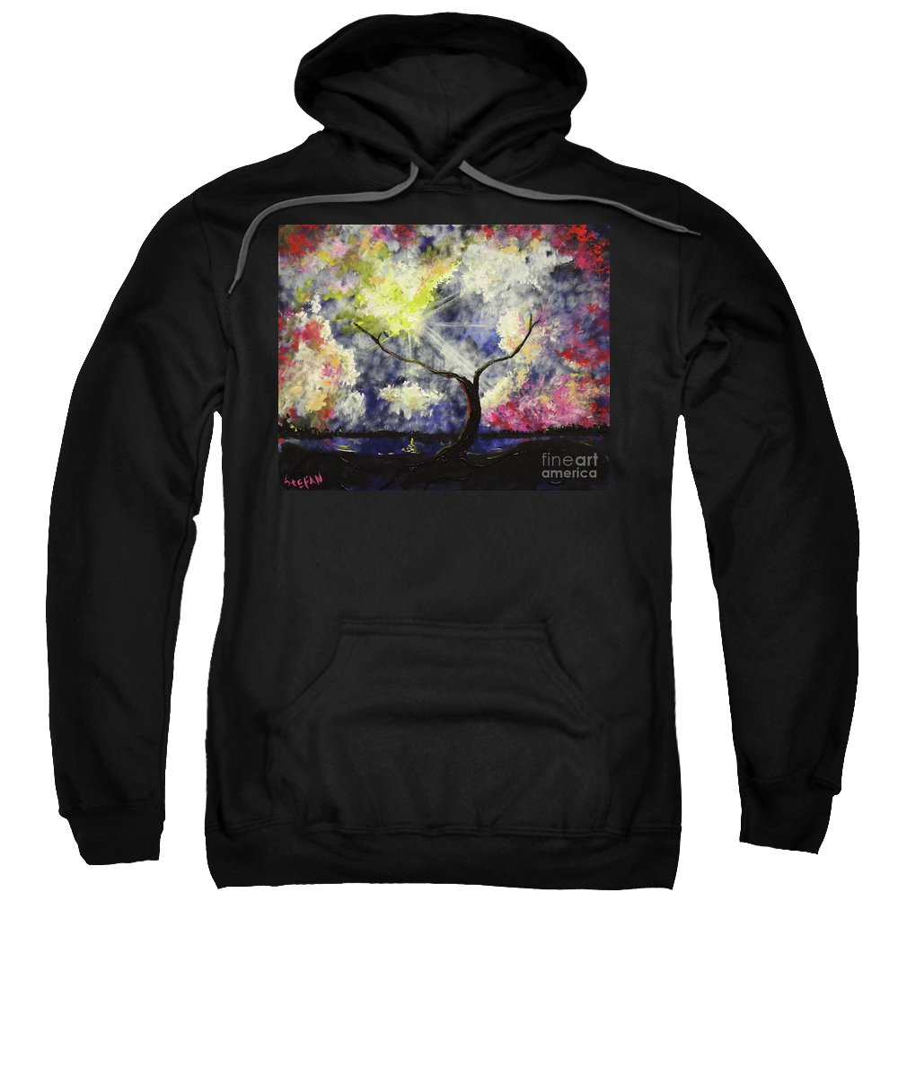 Landscape Sweatshirt featuring the painting Beleaf Dove House by Stefan Duncan