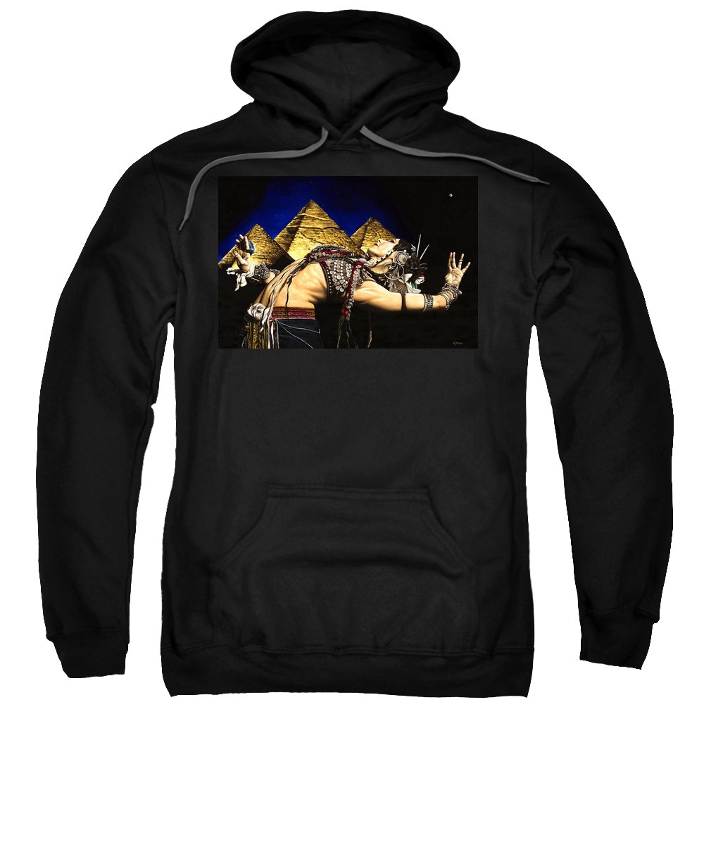 Bellydance Sweatshirt featuring the painting Bellydance of the Pyramids - Rachel Brice by Richard Young