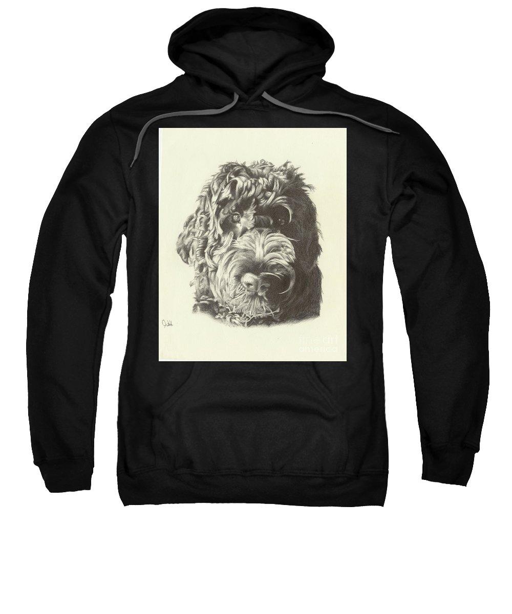 Dog Sweatshirt featuring the drawing Belvedere by Jon Schlote