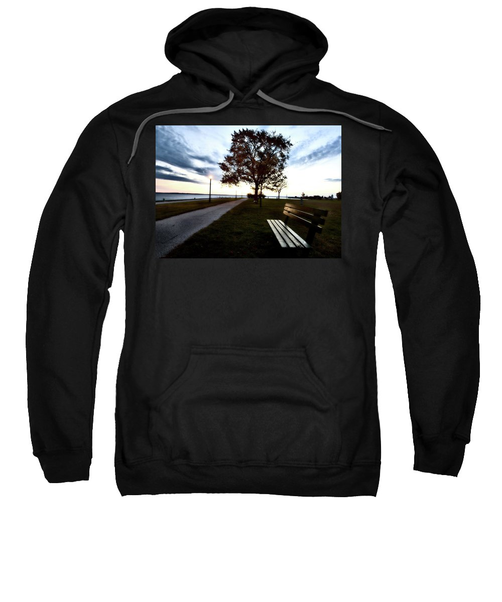 Bench Sweatshirt featuring the digital art Bench And Street Light by Mark Duffy