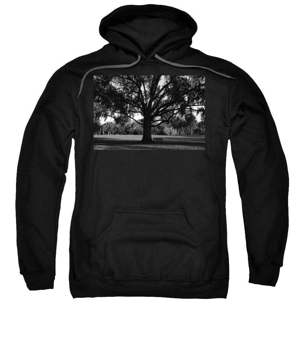 Park Bench Sweatshirt featuring the photograph Bench Under Oak by David Lee Thompson