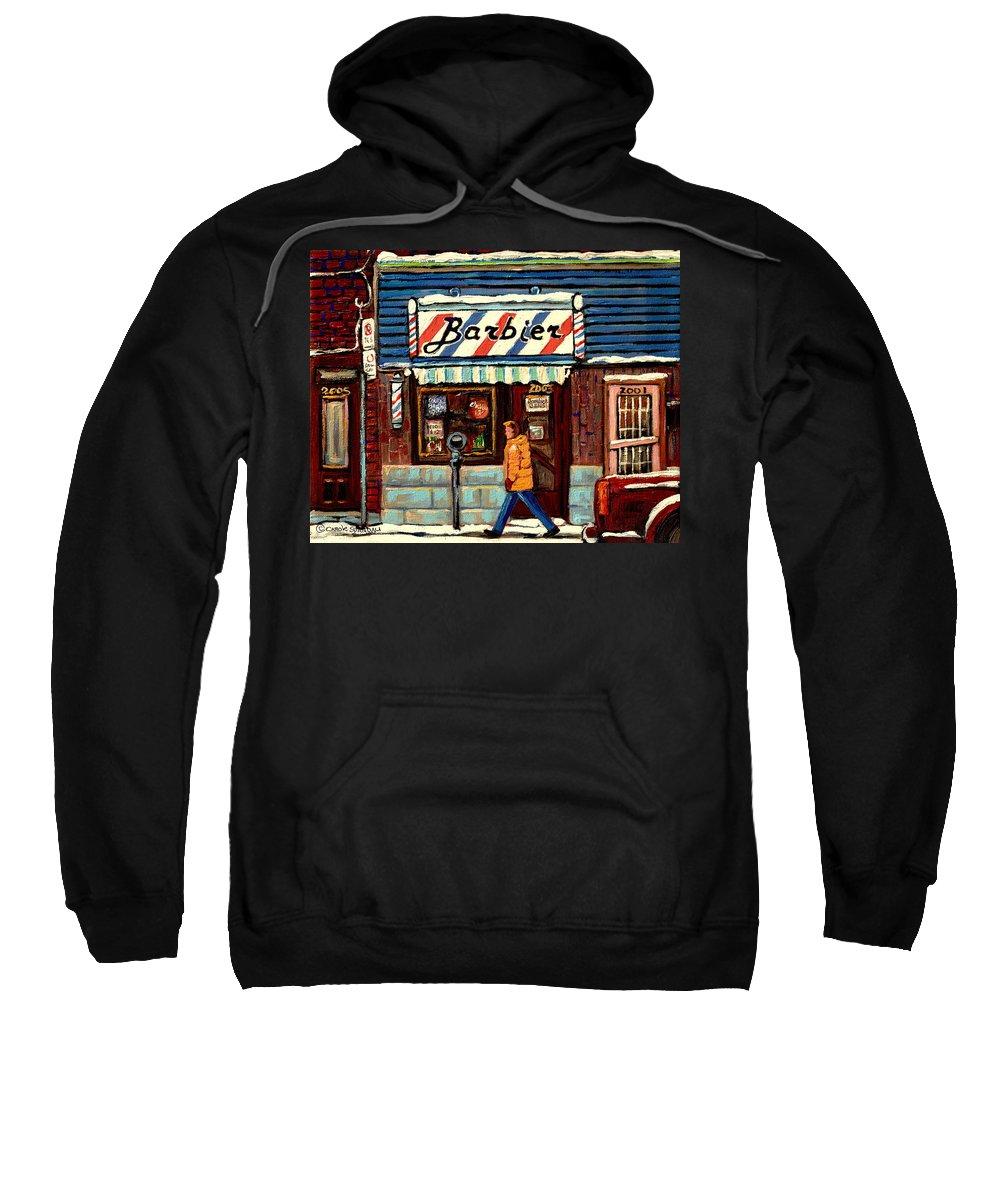 Bens Barbershop Sweatshirt featuring the painting Bens Barbershop by Carole Spandau