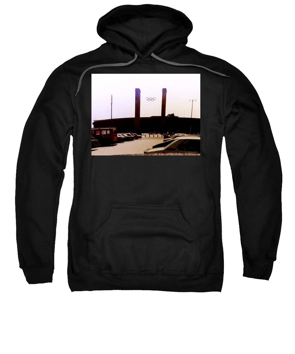 This A Photo Of The Olympic Stadium In Berlin Germany Sweatshirt featuring the photograph Berlin Olympic Stadium by William Rogers