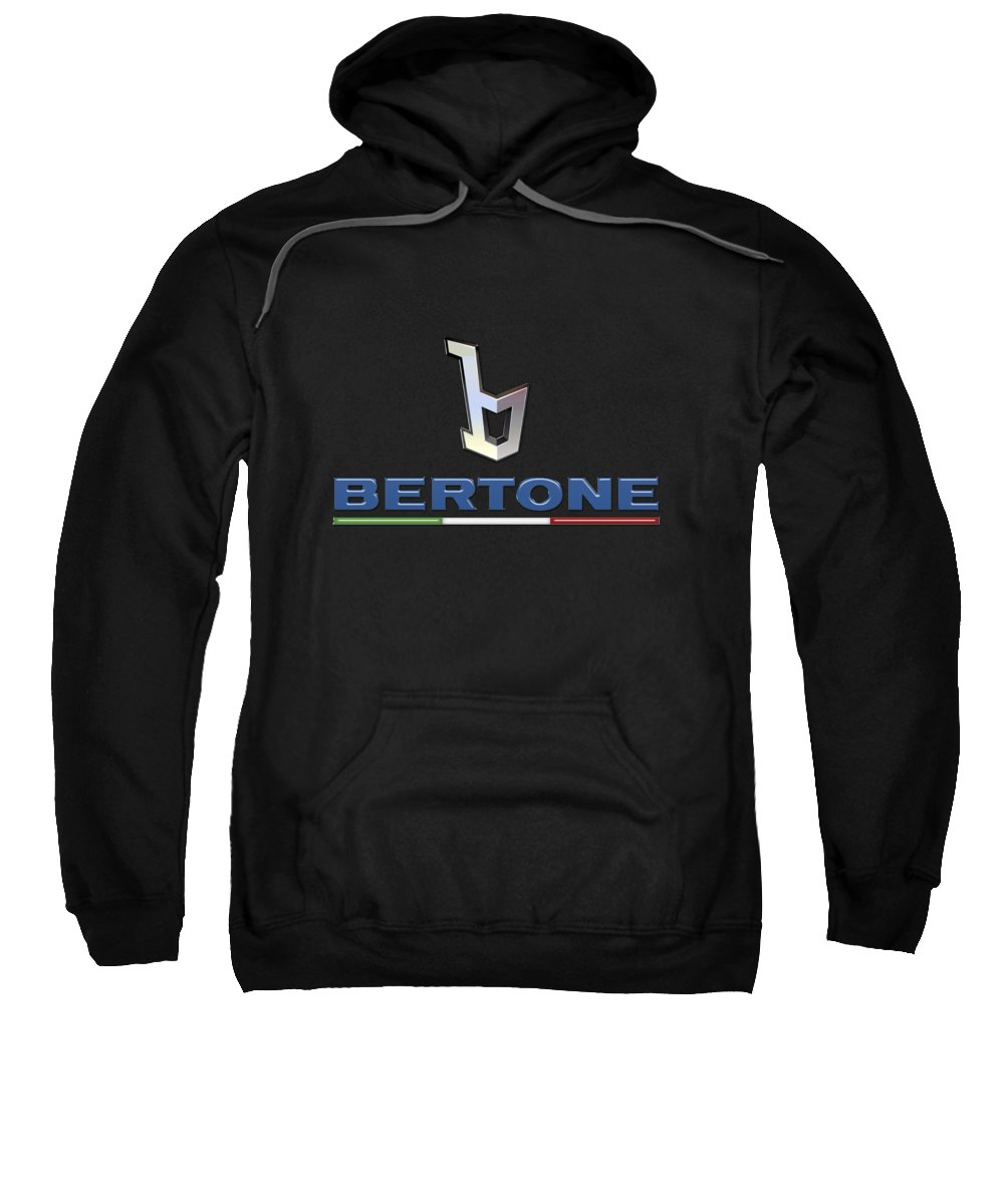 'auto Badges' Collection By Serge Averbukh Sweatshirt featuring the photograph Bertone - 3 D Badge On Black by Serge Averbukh