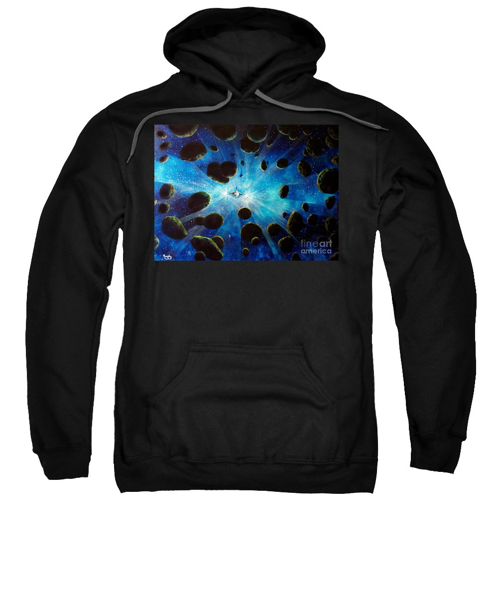 Asteroid Field. Astro Sweatshirt featuring the painting Better Go Around by Murphy Elliott