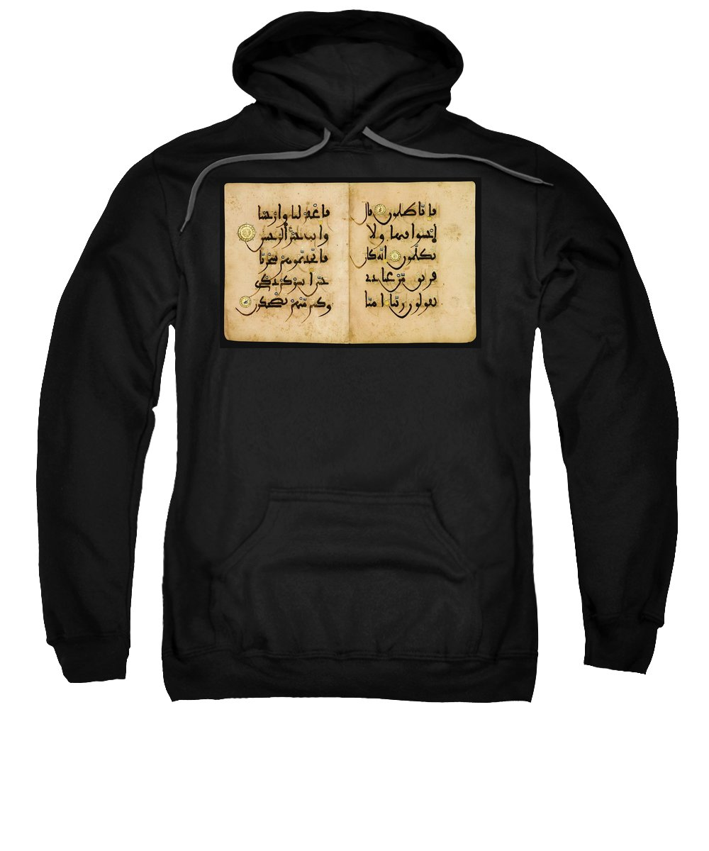 A Qur'an Bifolium In Maghribi Script Sweatshirt featuring the painting Bifolium In Maghribi Script by Eastern Accents