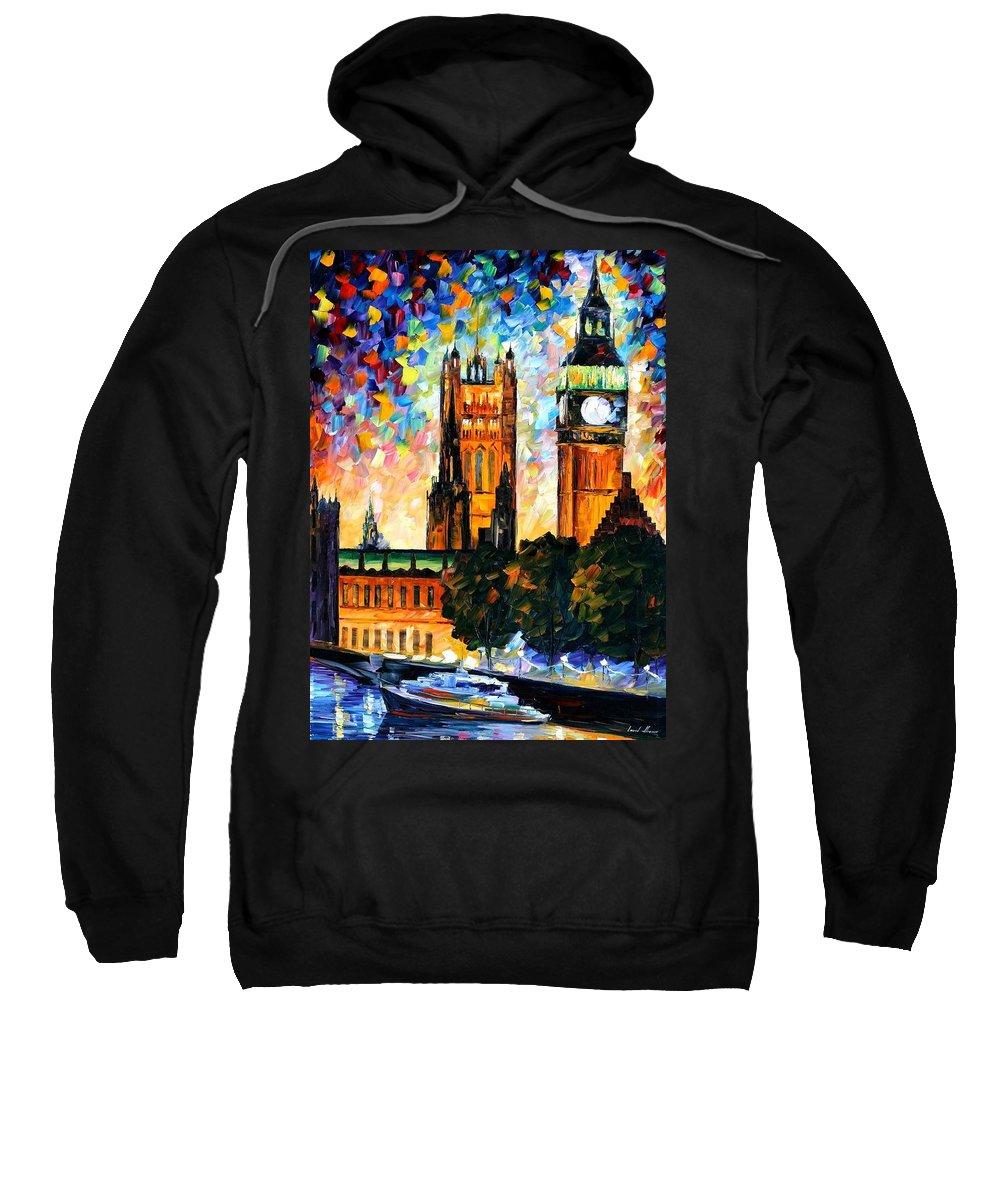 Afremov Sweatshirt featuring the painting Big Ben by Leonid Afremov