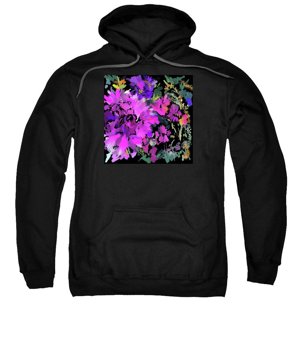 Dc Langer Sweatshirt featuring the painting Big Pink Flower by DC Langer