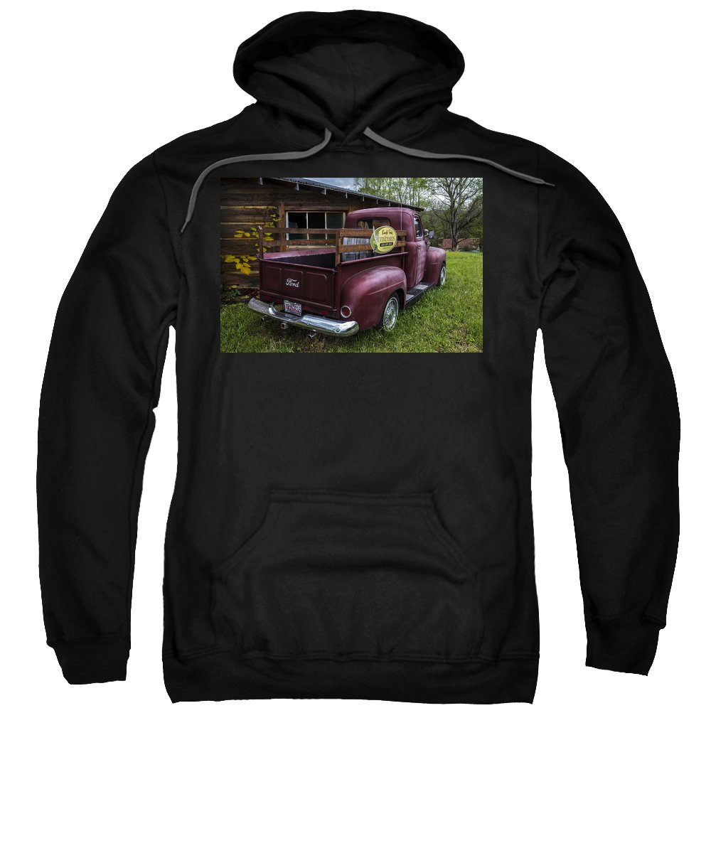 1950 Sweatshirt featuring the photograph Big Red Ford Truck by Debra and Dave Vanderlaan