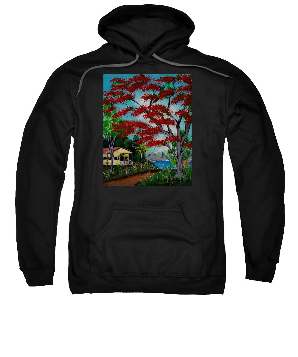 Flamboyant Tree Sweatshirt featuring the painting Big Red by Luis F Rodriguez