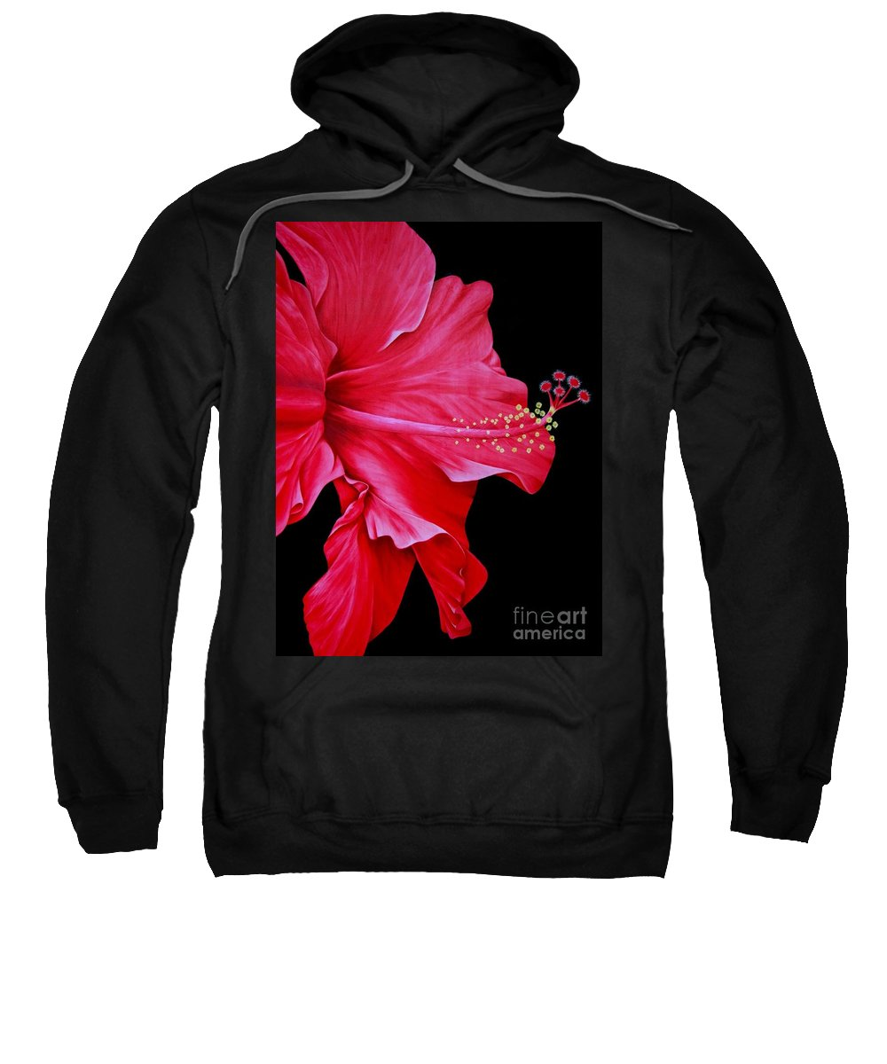 Red Flowers Sweatshirt featuring the painting Big Red by Mary Deal