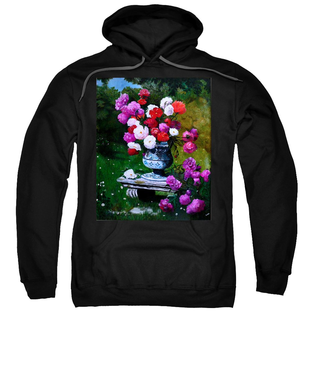 Stilllife Sweatshirt featuring the painting Big Vase With Peonies by Helmut Rottler