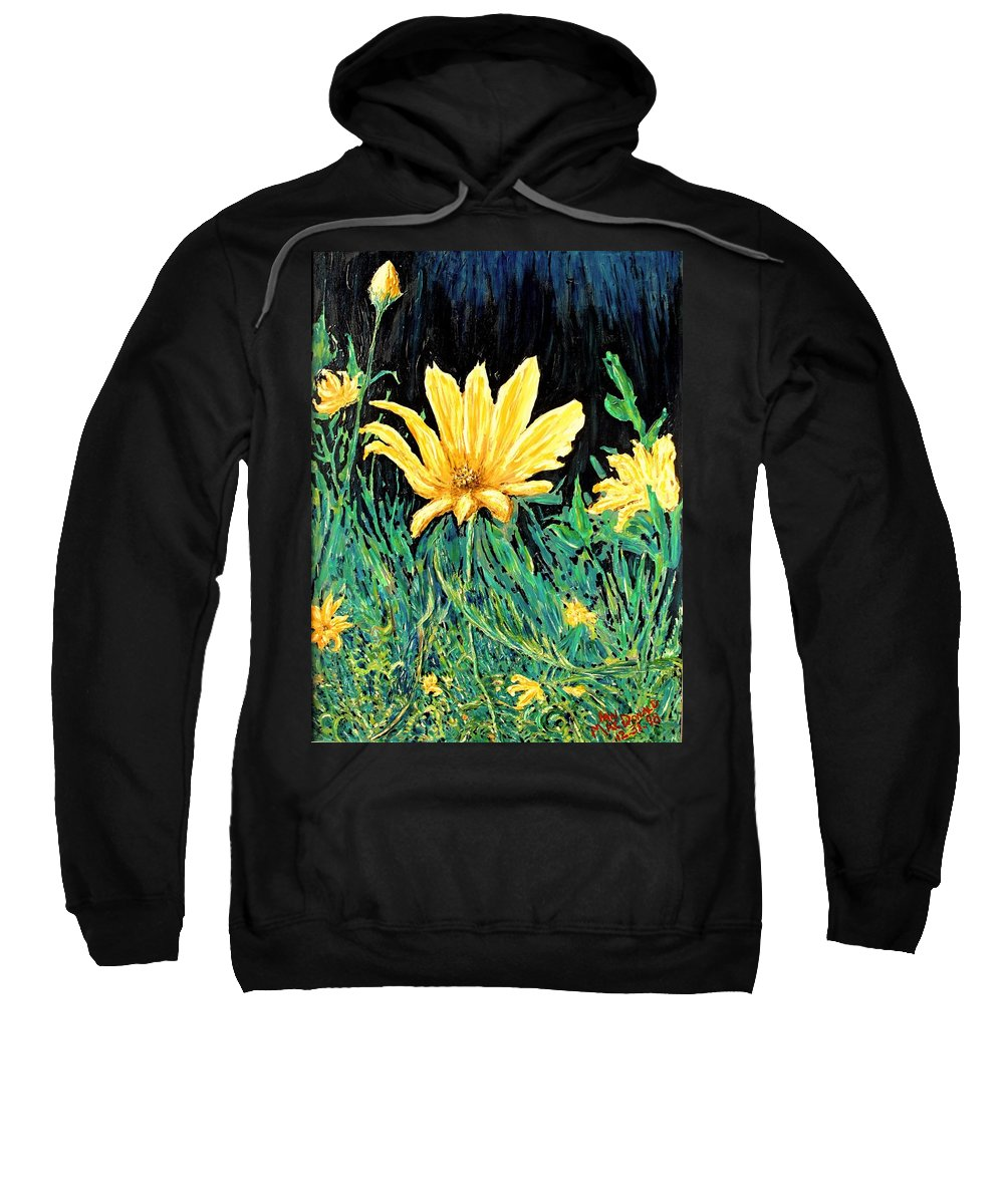 Flower Sweatshirt featuring the painting Big Yellow by Ian MacDonald