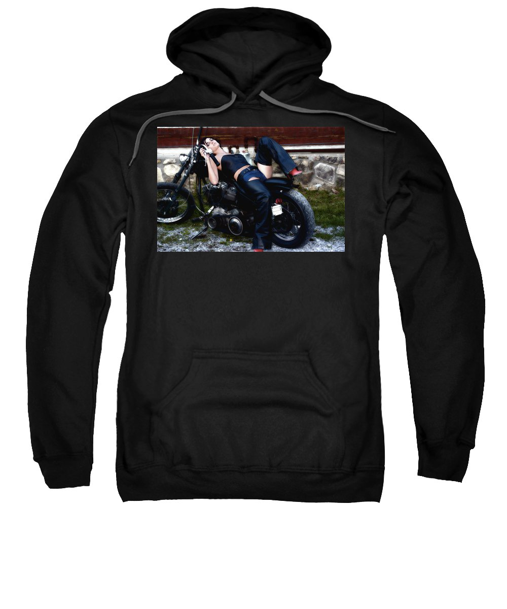 Clay Sweatshirt featuring the photograph Bikes And Babes by Clayton Bruster