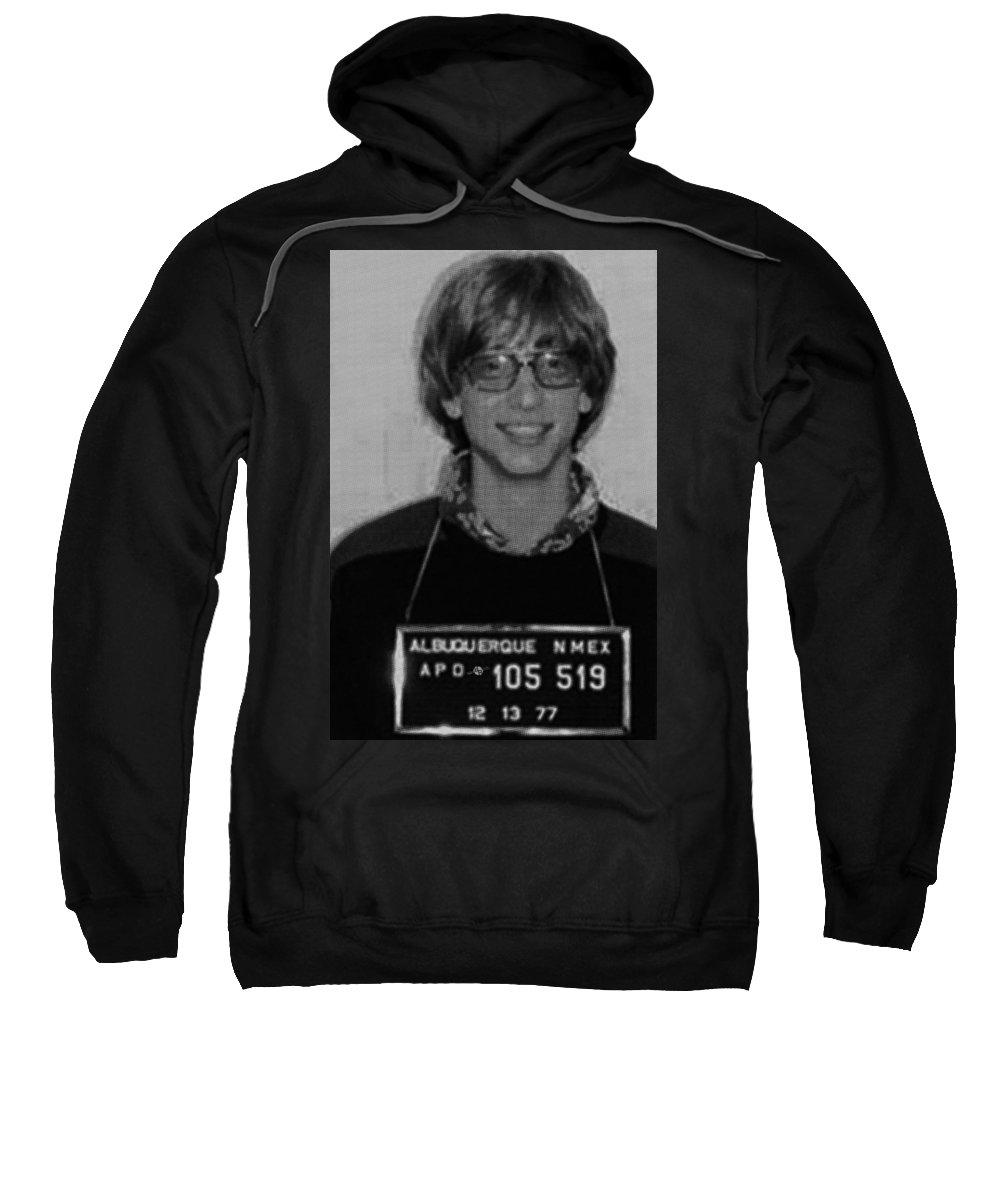 Bill Gates Sweatshirt featuring the painting Bill Gates Mug Shot Vertical Black And White by Tony Rubino