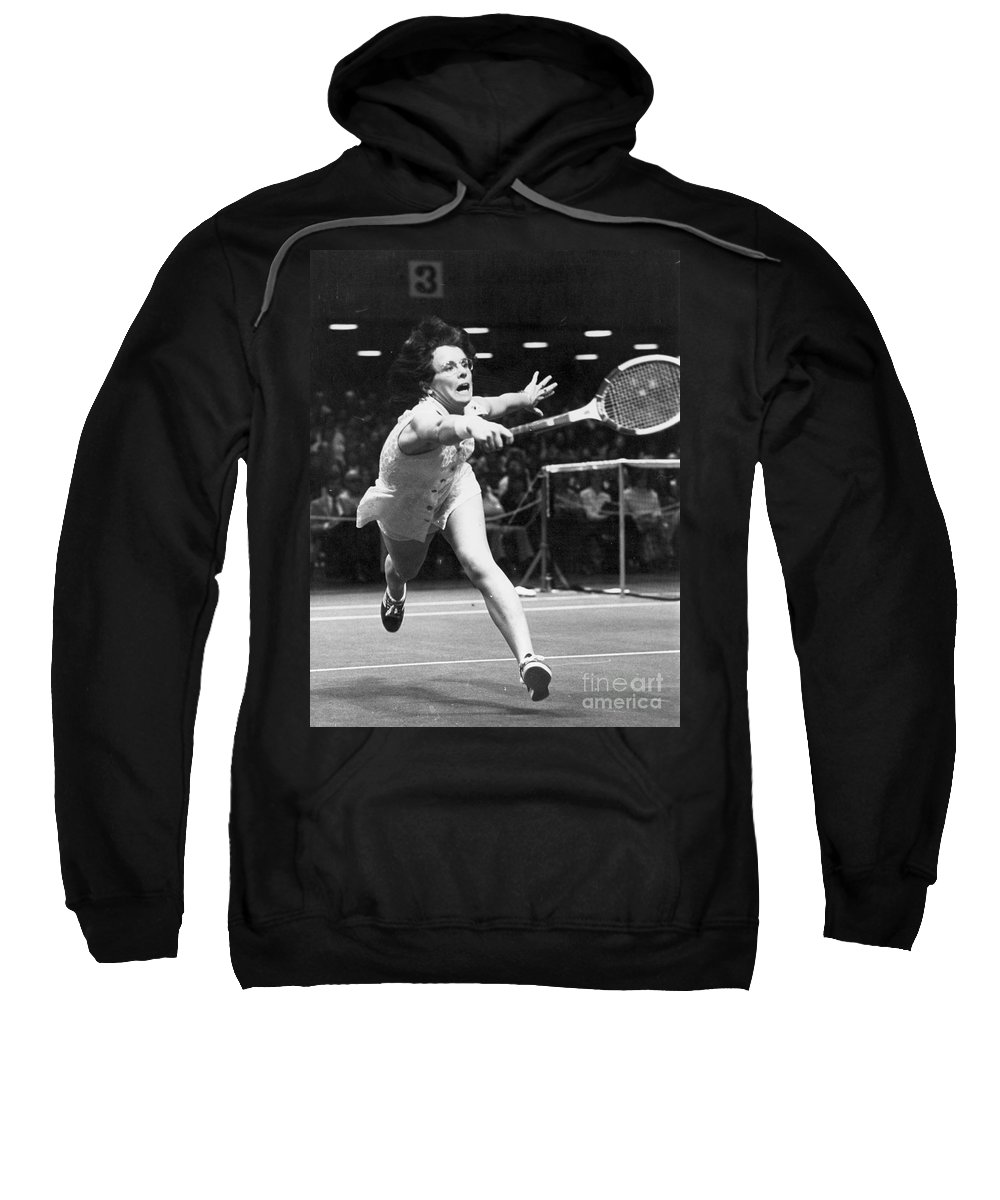 1974 Sweatshirt featuring the photograph Billie Jean King by Granger