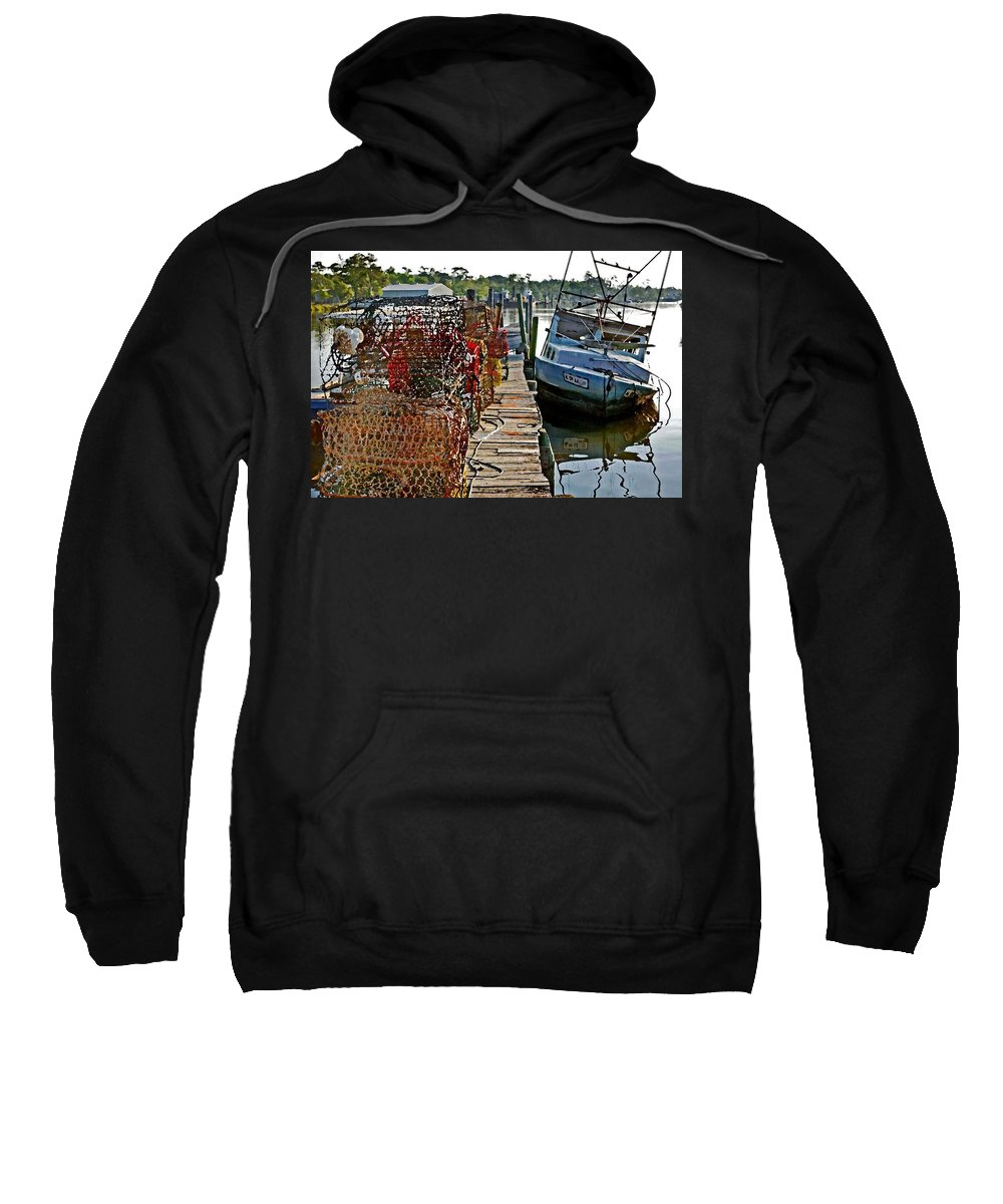 Nets Sweatshirt featuring the painting Billys Nets And Sinking Work Boat by Michael Thomas