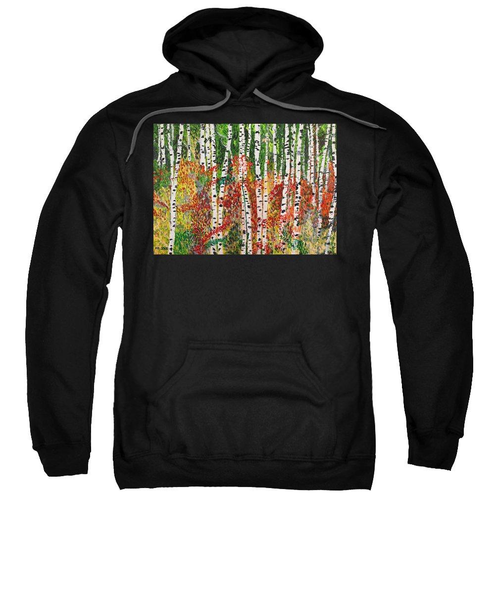 Landscape Sweatshirt featuring the painting Birch Forest by Valerie Ornstein