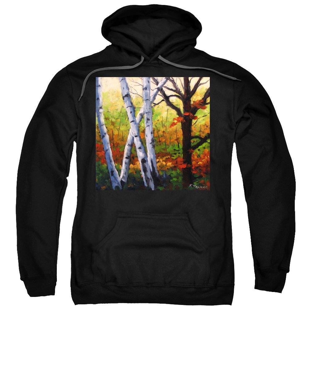 Art Sweatshirt featuring the painting Birches 05 by Richard T Pranke