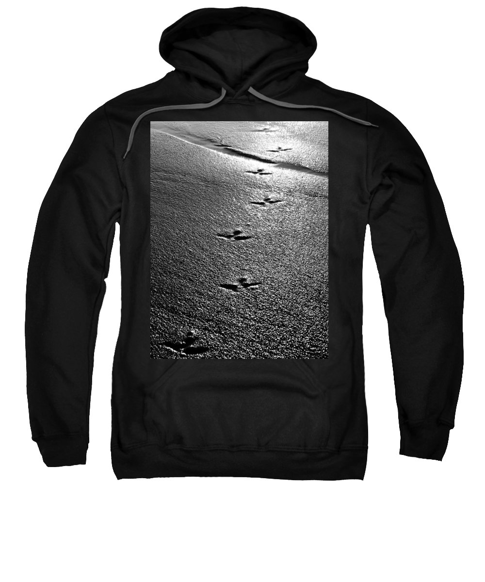 Sand Sweatshirt featuring the photograph Bird Prints In The Sand Black And White by Jill Reger