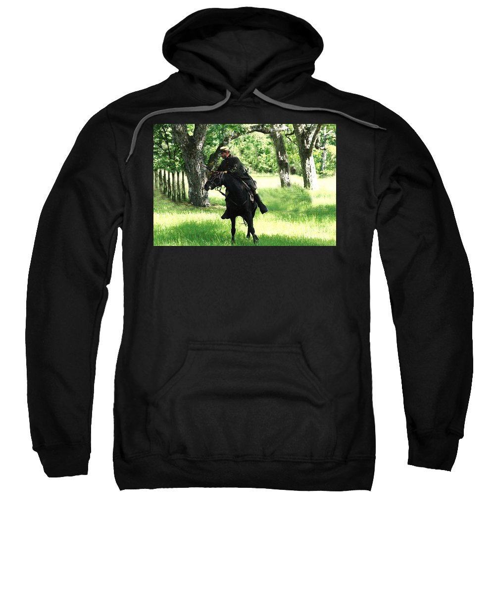 Civil War Re-enactment Sweatshirt featuring the photograph Black Amongst The Green by Kim Henderson
