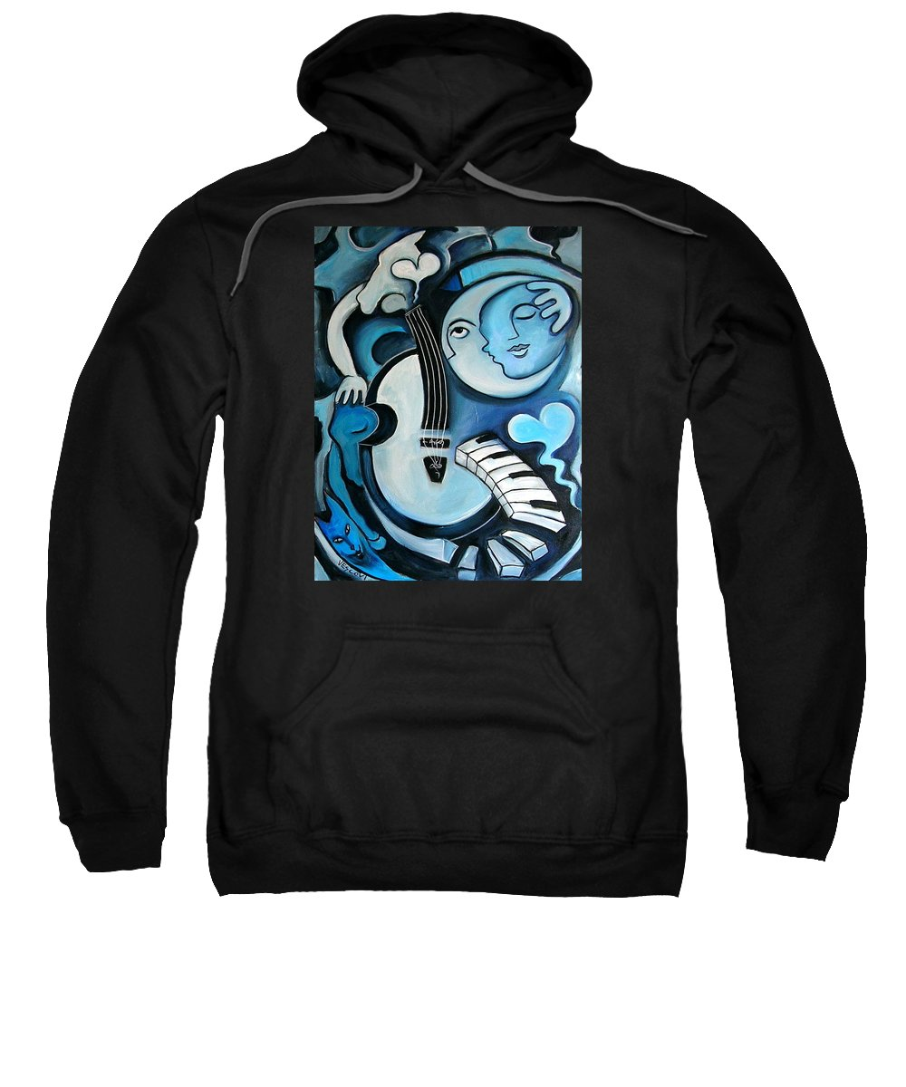 Abstract Sweatshirt featuring the painting Black And Bleu by Valerie Vescovi