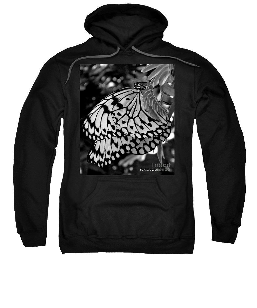 Photograph Sweatshirt featuring the photograph Black And White Butterfly by Shelley Jones