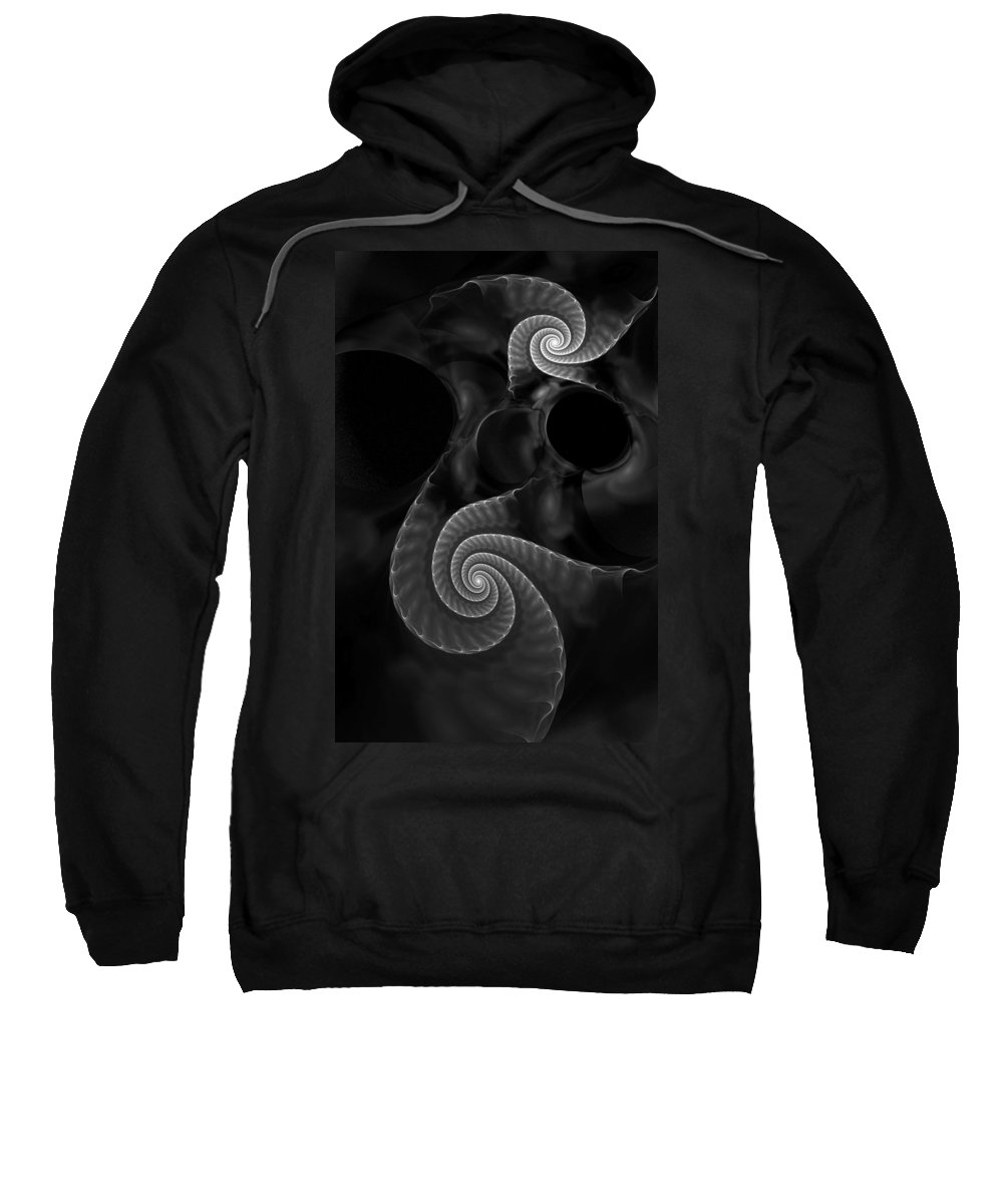 Fractal Sweatshirt featuring the digital art Black And White Fractal 080810 by David Lane