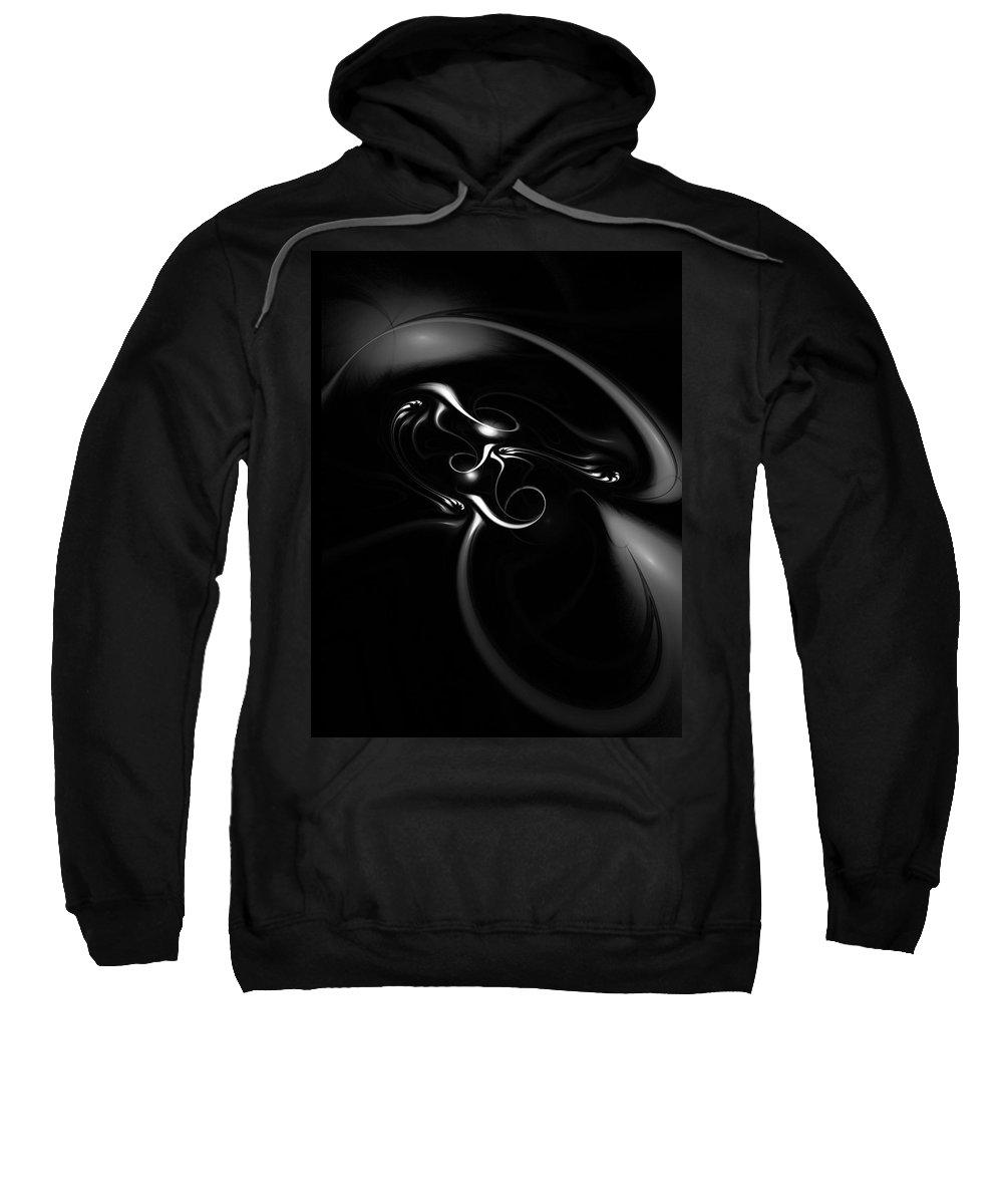 Fractal Sweatshirt featuring the digital art Black And White Fractal 080810b by David Lane