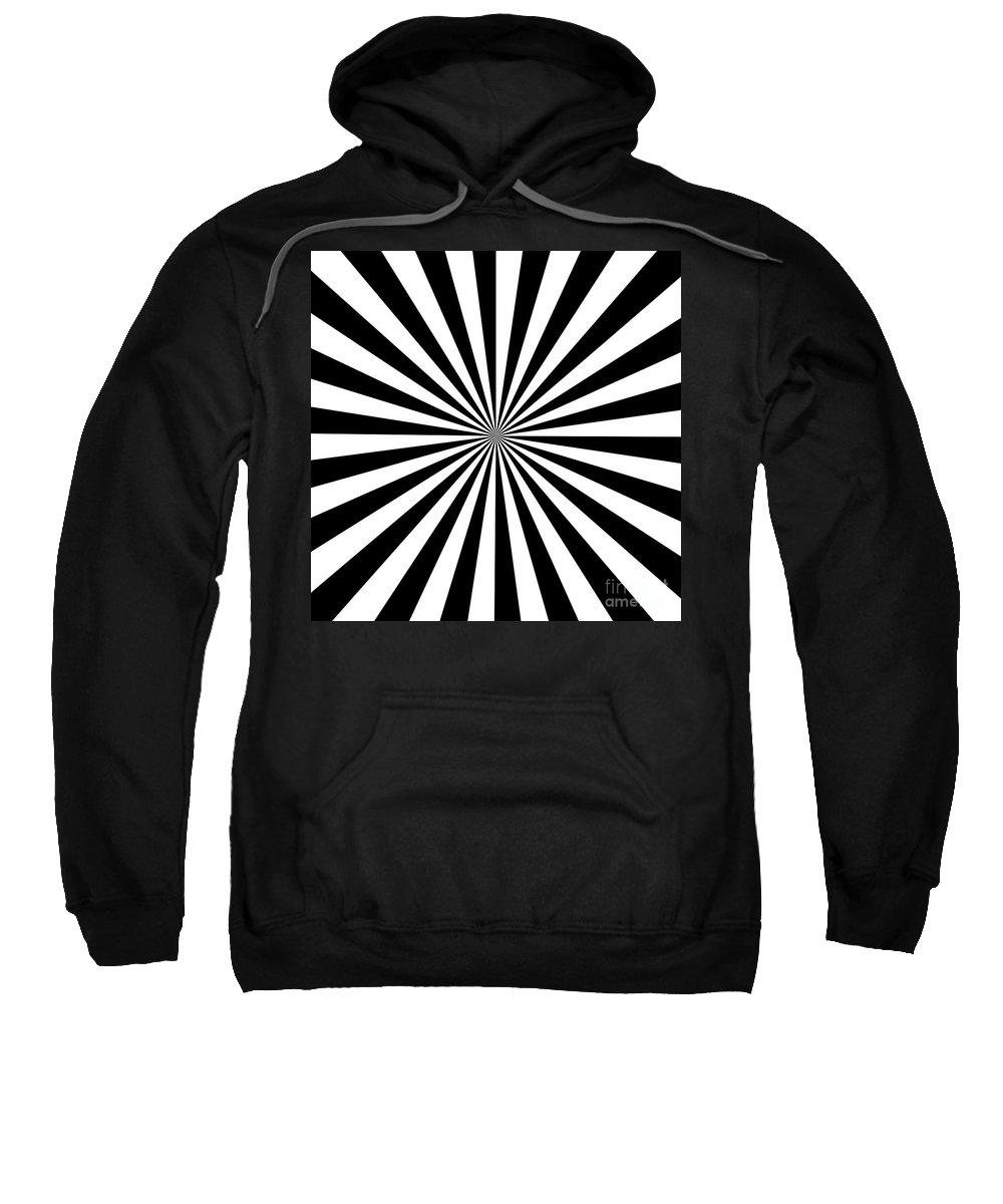 Black Sweatshirt featuring the digital art Black And White Starburst by Susan Cooper