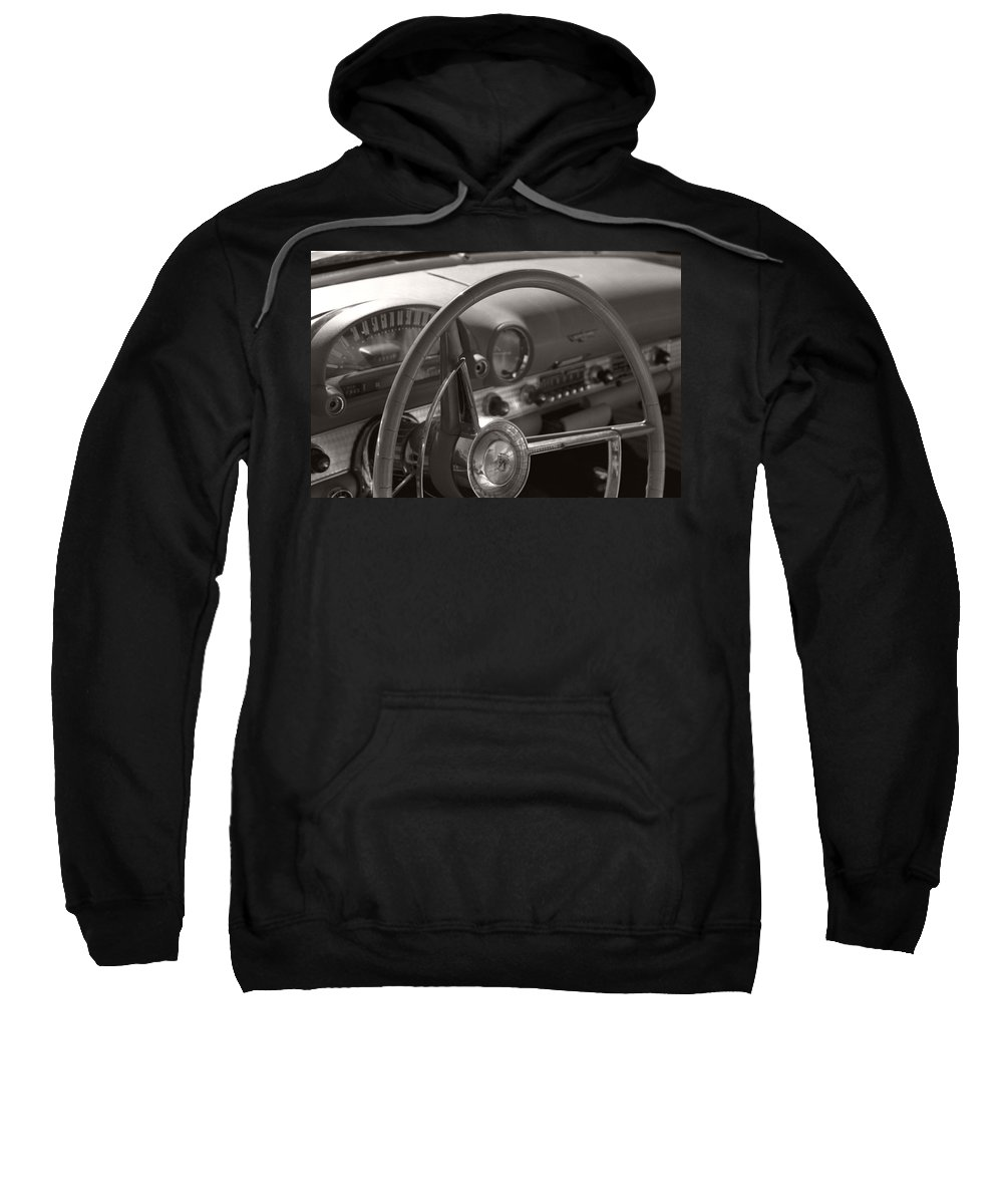 Black And White Photography Sweatshirt featuring the photograph Black And White Thunderbird Steering Wheel by Heather Kirk