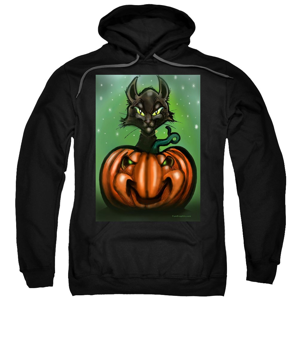 Halloween Sweatshirt featuring the greeting card Black Cat N Pumpkin by Kevin Middleton