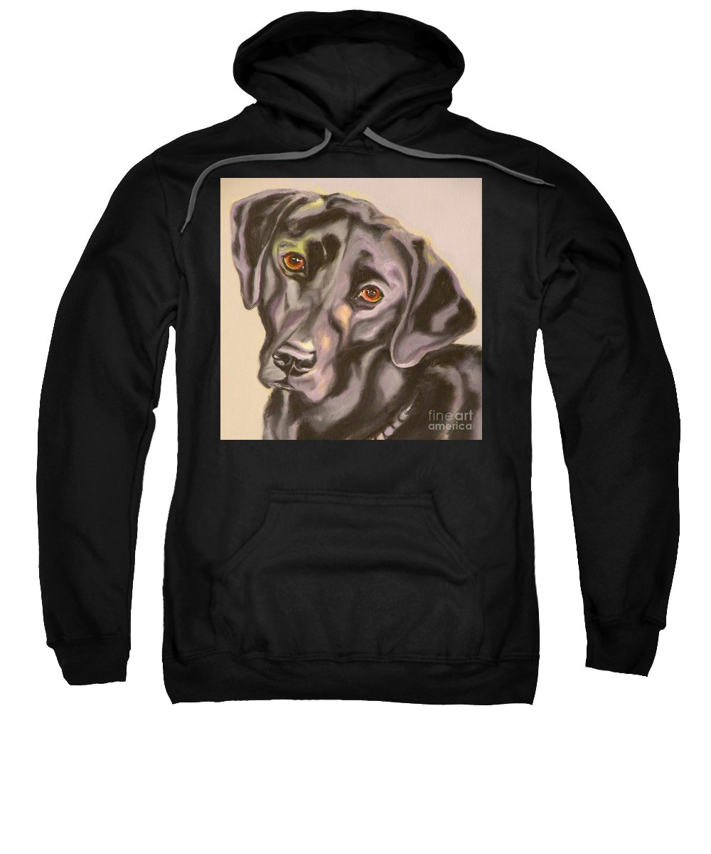 Giclee Sweatshirt featuring the painting Black Lab Aint No Cure For Love by Susan A Becker