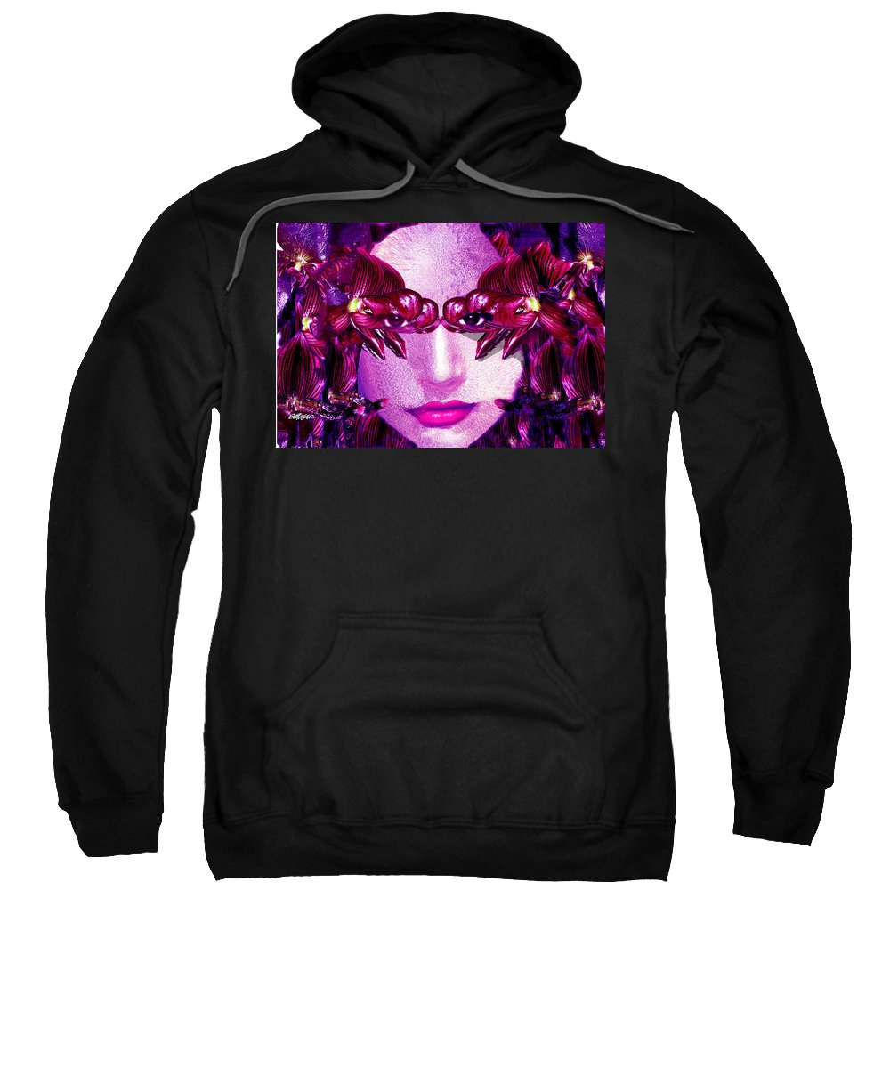 Oriental Sweatshirt featuring the digital art Black Orchid Eyes by Seth Weaver