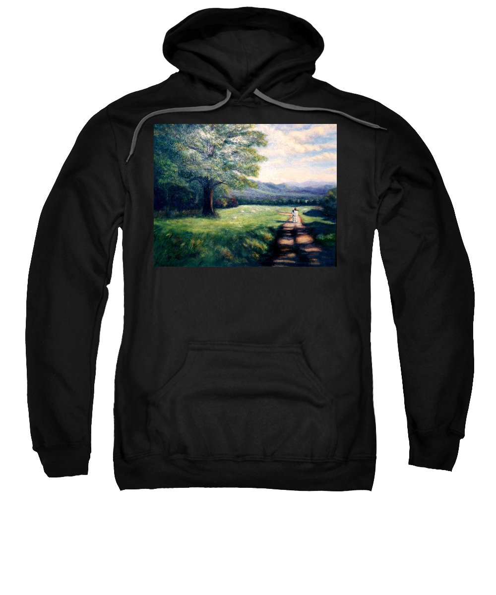 Christian Sweatshirt featuring the painting Black Sheep by Gail Kirtz