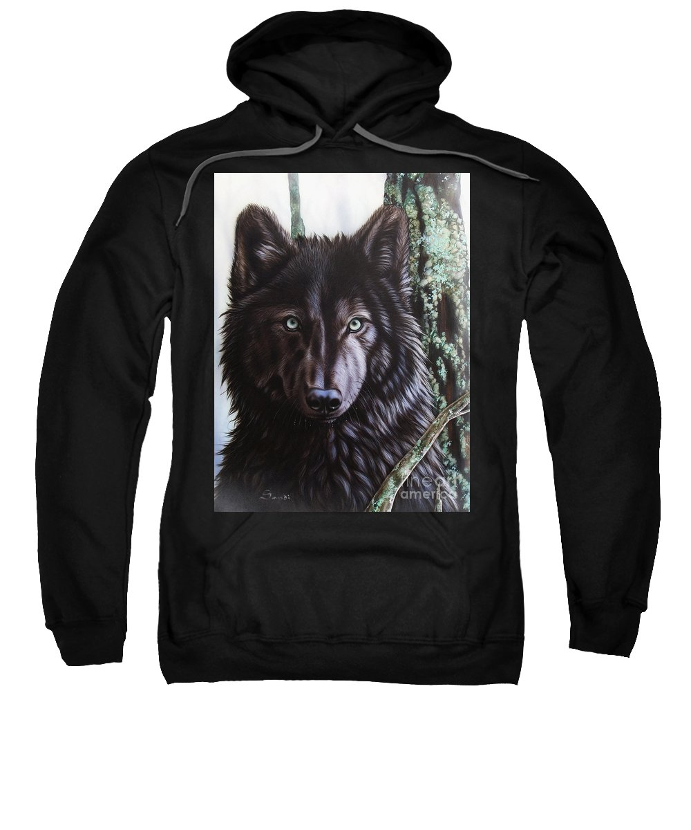 Wolves Sweatshirt featuring the painting Black Wolf by Sandi Baker