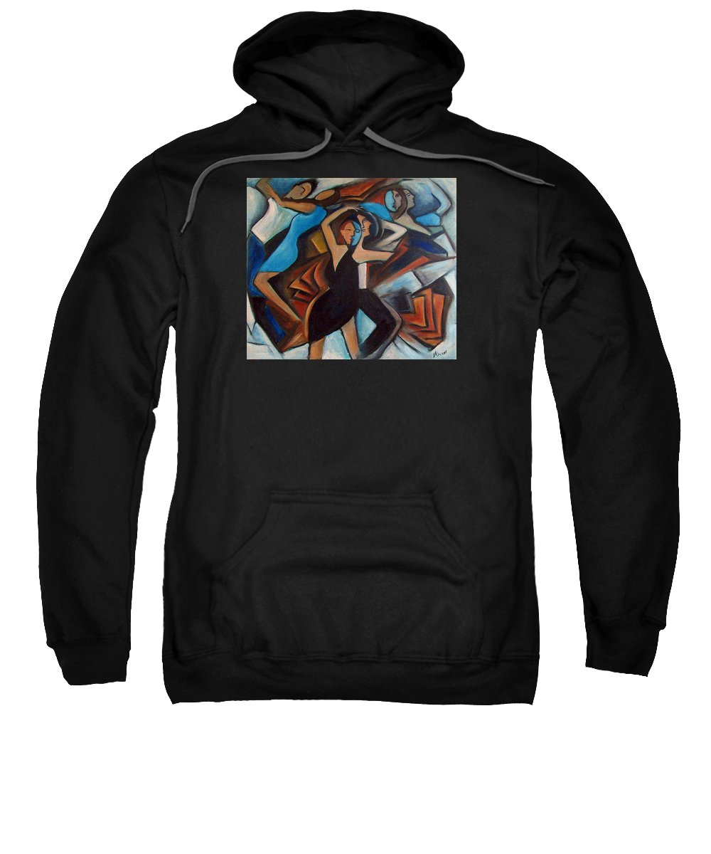 Abstract Dancers Sweatshirt featuring the painting Bleu Danse by Valerie Vescovi