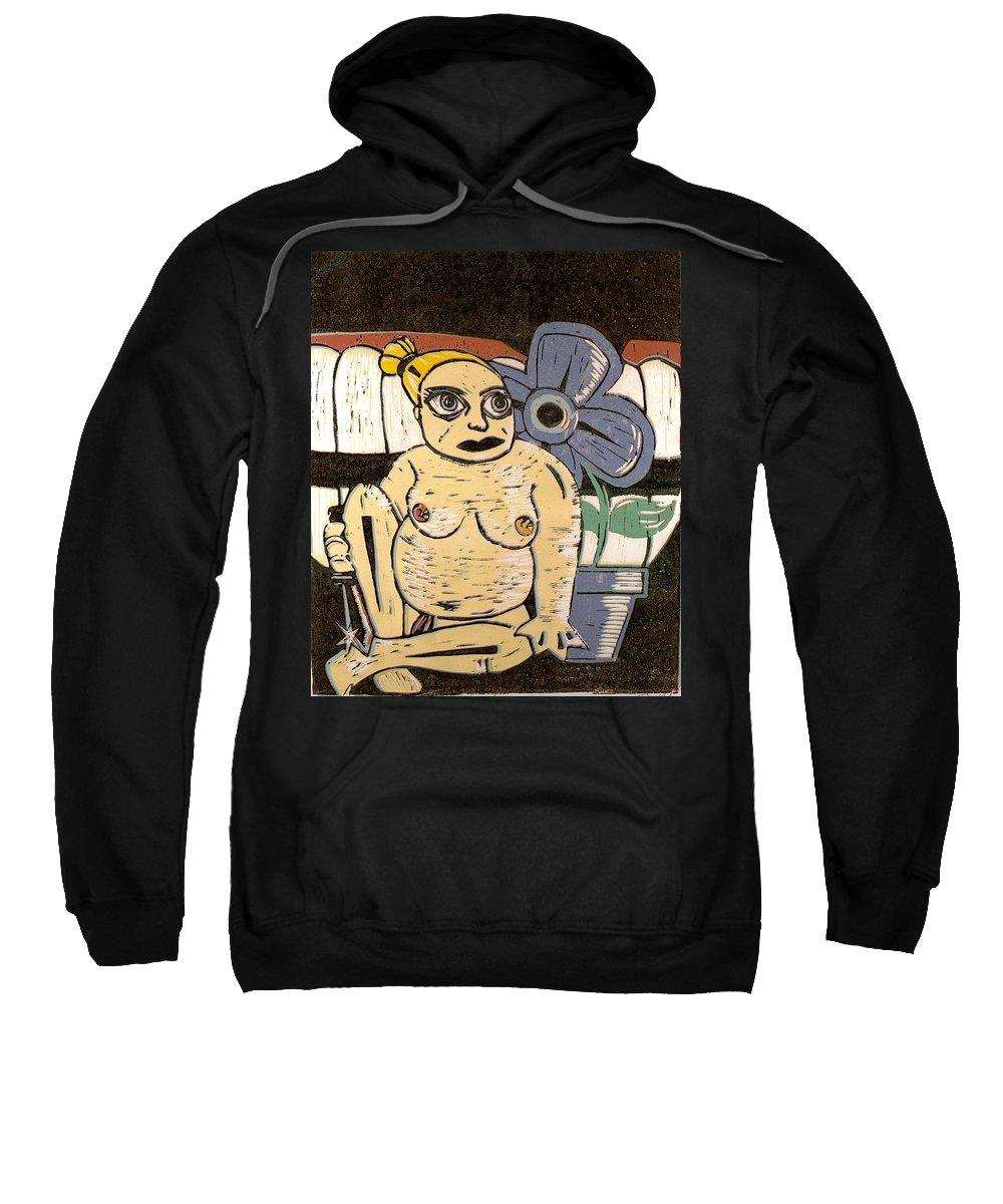 Print Sweatshirt featuring the painting Block Print by Thomas Valentine
