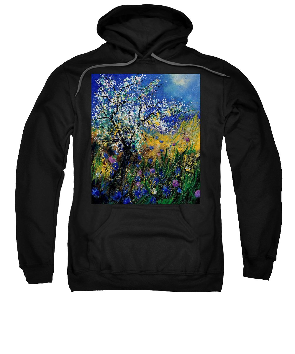 Spring Sweatshirt featuring the painting Blooming Appletree by Pol Ledent