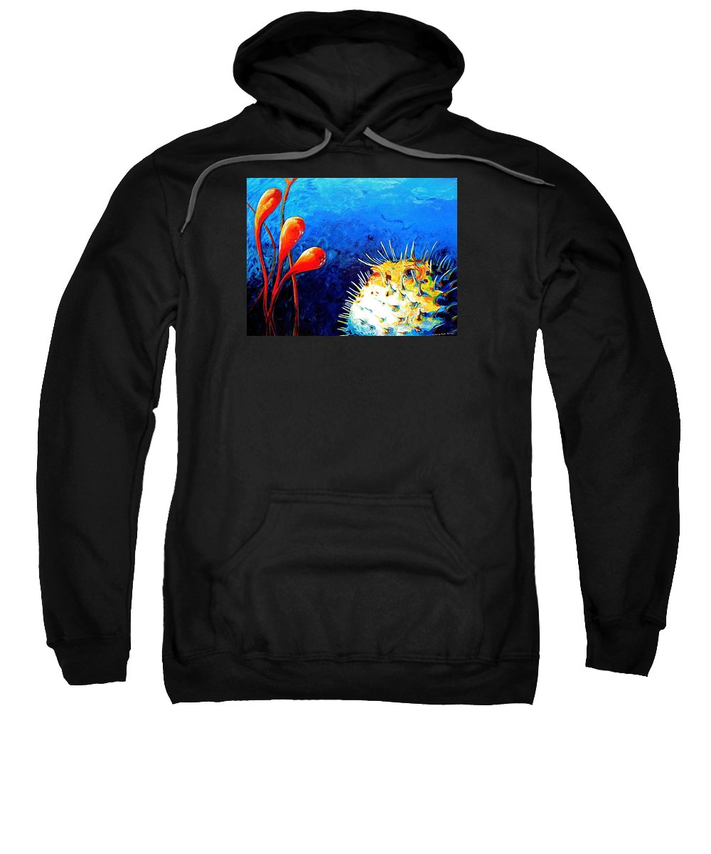 Blow Fish Sweatshirt featuring the painting Blow Fish by Gregory Merlin Brown
