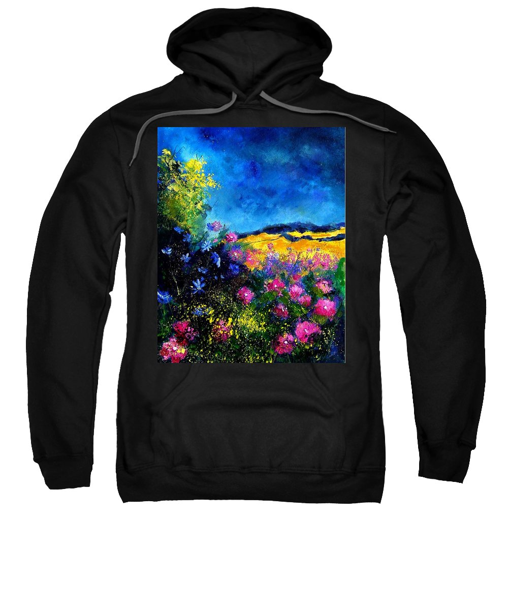 Landscape Sweatshirt featuring the painting Blue and pink flowers by Pol Ledent