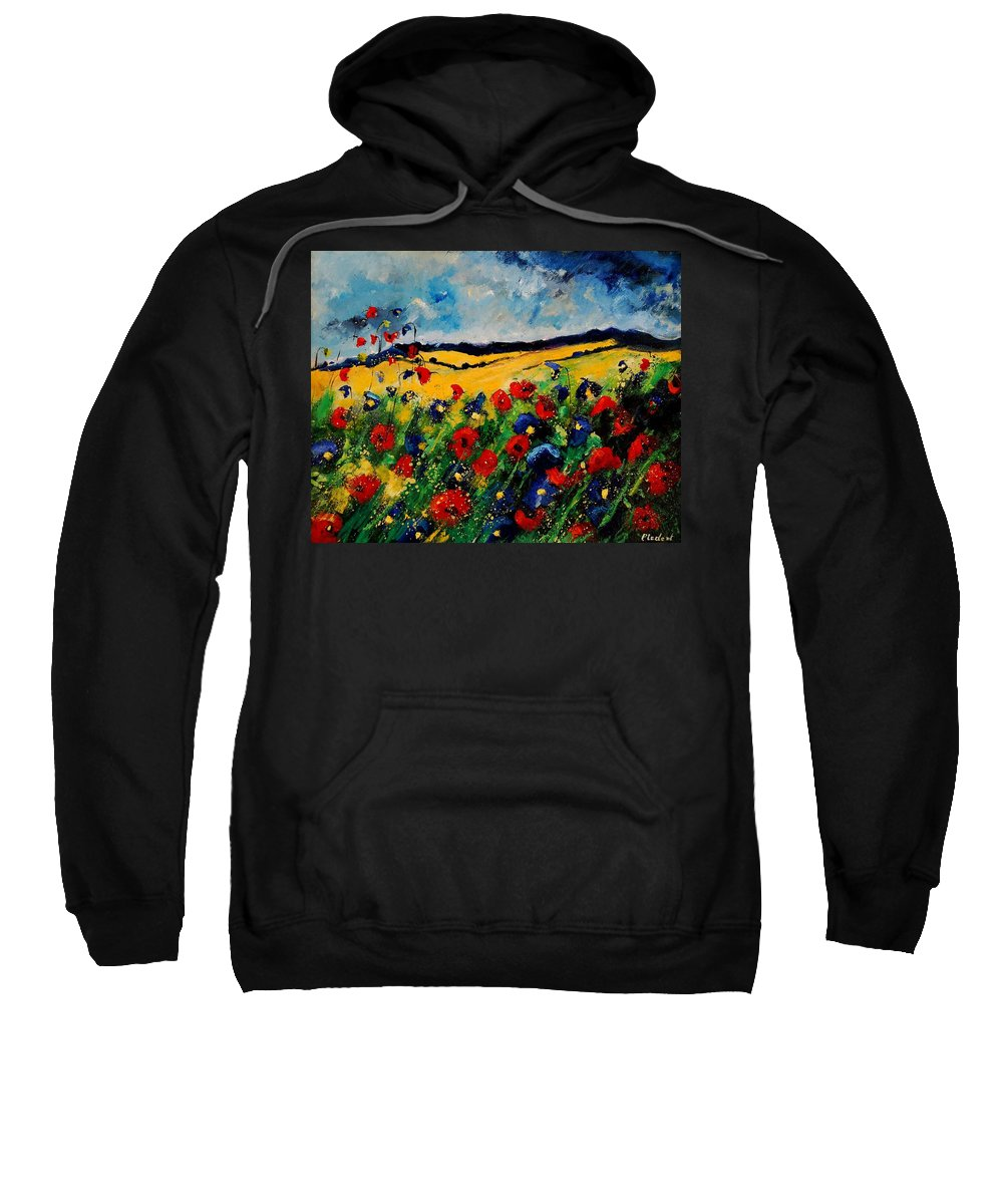 Poppies Sweatshirt featuring the painting Blue And Red Poppies 45 by Pol Ledent