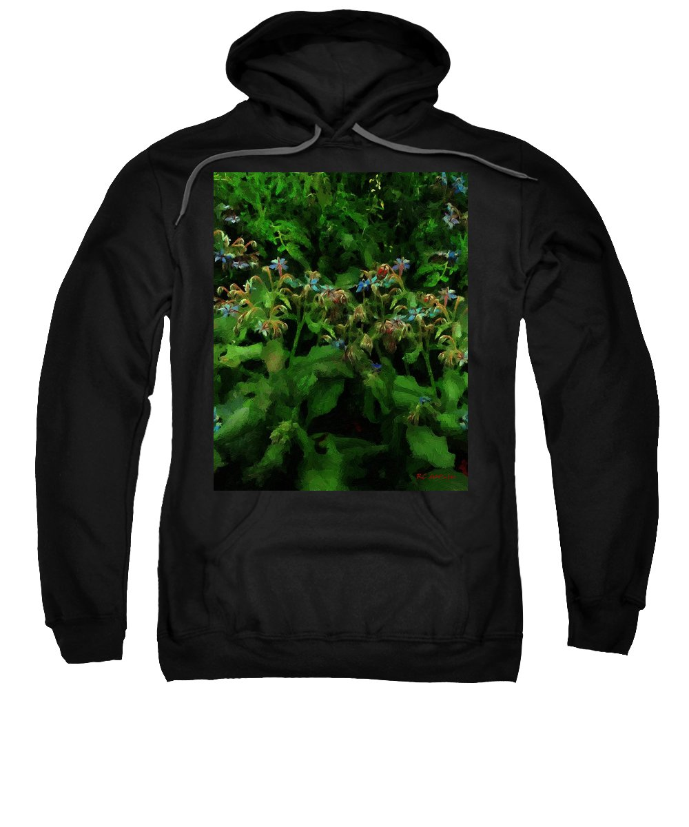 Blossoms Sweatshirt featuring the painting Blue Blossoms By Moonlight by RC DeWinter