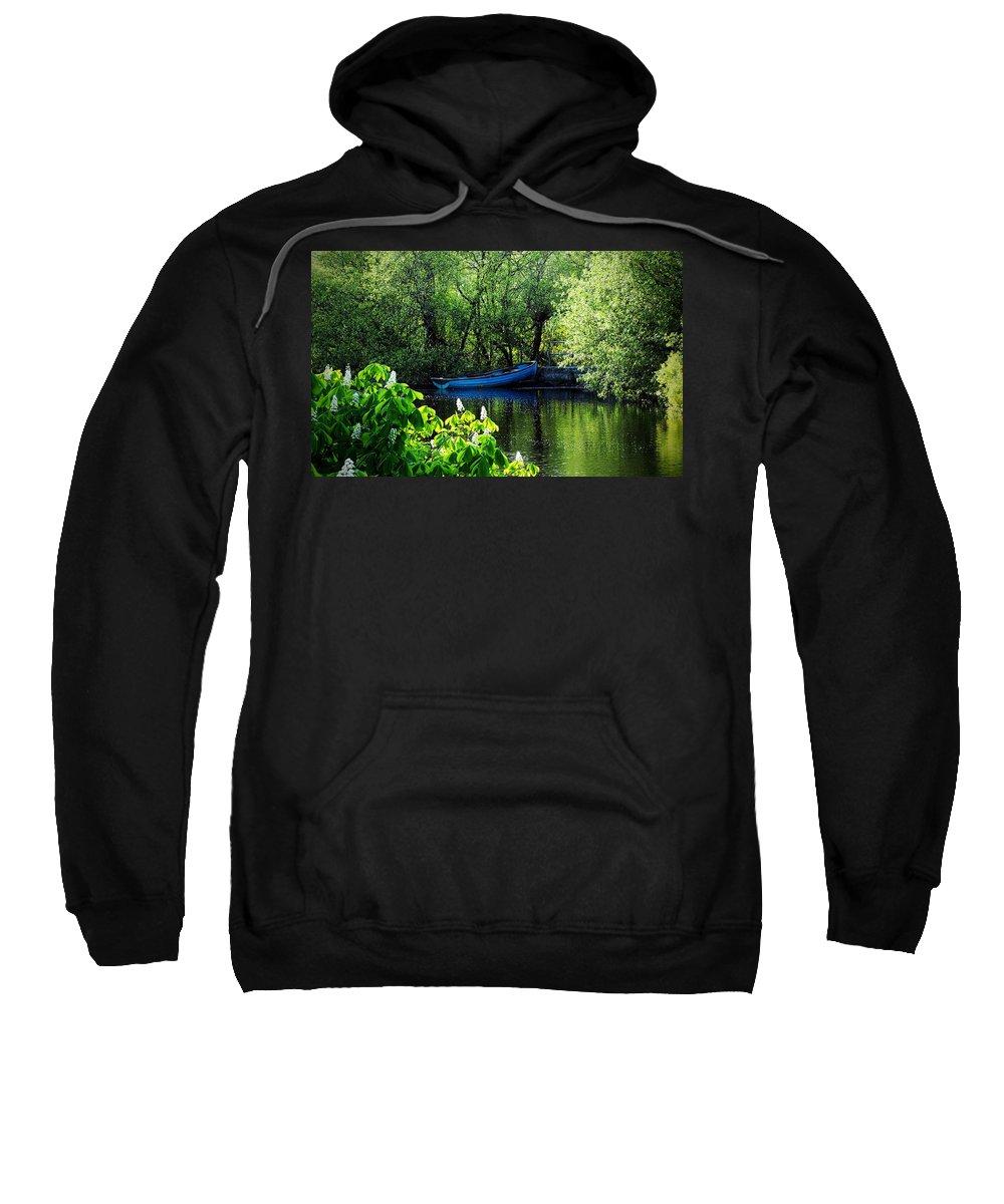 Irish Sweatshirt featuring the photograph Blue Boat Cong Ireland by Teresa Mucha