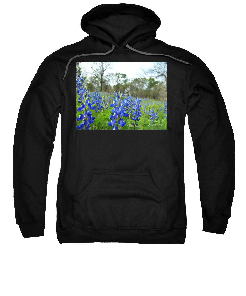 Blue Bonnets Sweatshirt featuring the photograph Blue Bonnet Explosion II by Carolina Liechtenstein