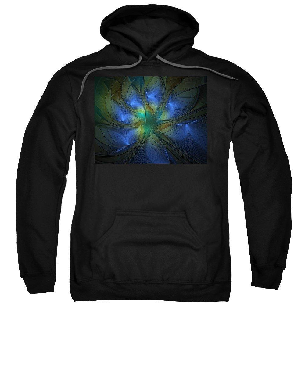 Digital Art Sweatshirt featuring the digital art Blue Butterflies by Amanda Moore