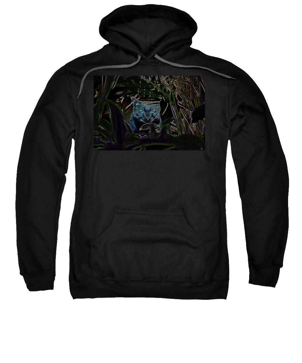 Art Sweatshirt featuring the painting Blue Cat In The Garden by David Lee Thompson