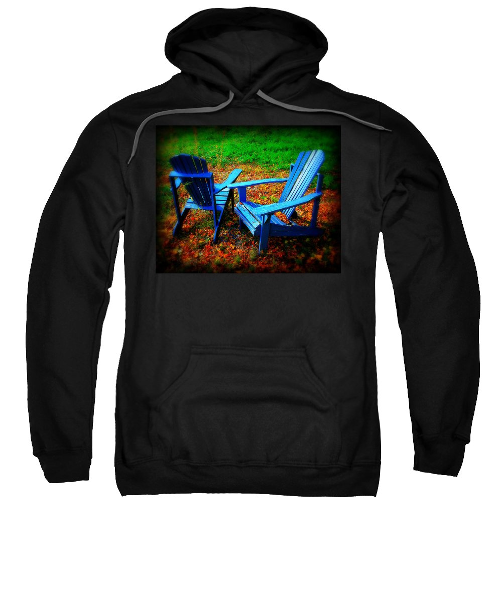 Chair Sweatshirt featuring the photograph Blue Chairs by Perry Webster