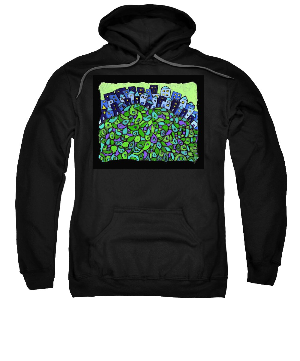 City Sweatshirt featuring the painting Blue City On A Hill by Wayne Potrafka